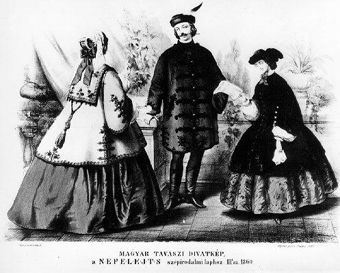 """Illusztráció a Nefelejts c. laphoz, 1860/III. szám  Illustration from the Fashion Magazine """"Nefelejts"""" - 1860 vol. III"""