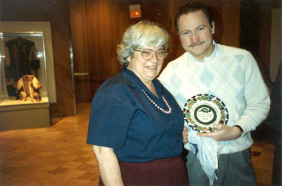 Margaret - Margit - Dósa, with Andrew Lázár, Cleveland Hungarian Heritage Museum Exhibits Director, in 1992, with the special commemorative plate she created for the Museum's special off-site exhibition at the Cleveland Museum of Natural History.