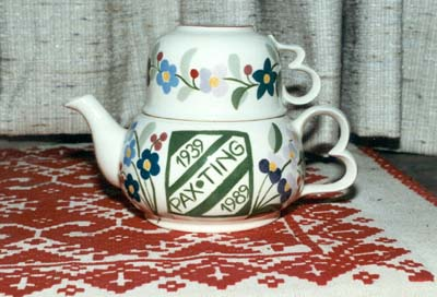 Commemorative teapot & cup, made for the 50th Anniversary of Hungarian Girl Scouting and Jubilee Camp,held at the Sik Sándor Scout Farm in Fillmore, NY, July, 1989.