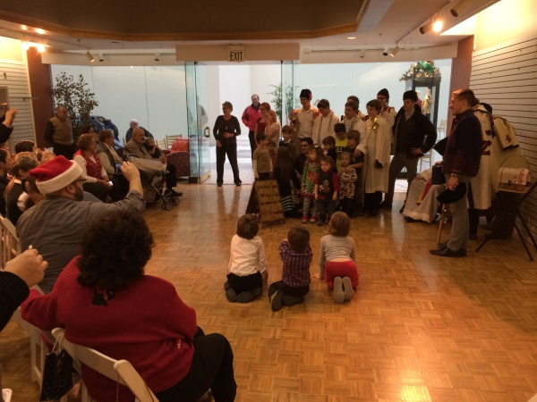 Parents and children and members of the nativity Play cast