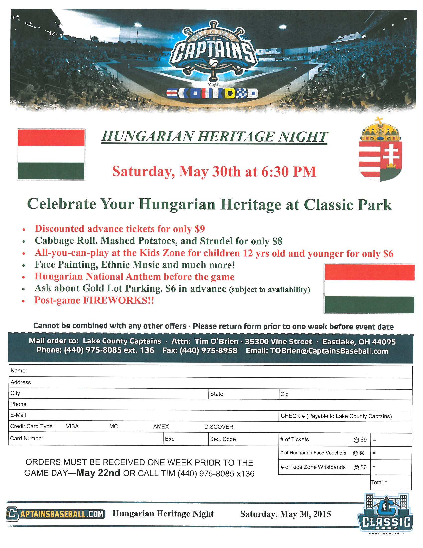 2015 Hungarian Heritage Night flyer