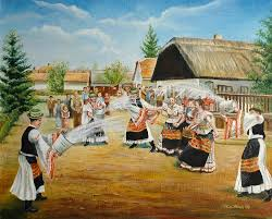 Easter Monday sprinkling in a village. This custom is still observed many places  in Hungary today.