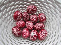 Some red eggs with the more traditional, ancient designs.